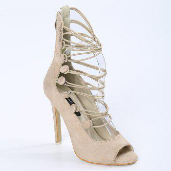 Buttons Stiletto Heel Peep Toe Shoes - APRICOT 38