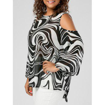 Plus Size Cold Shoulder Graphic High Low Top