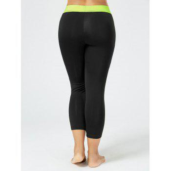 Plus Size Two Tone Workout Leggings with Pockets - BLACK BLACK