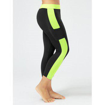 Plus Size Two Tone Workout Leggings with Pockets - BLACK 4XL