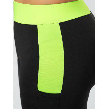 Plus Size Two Tone Workout Leggings with Pockets - 4XL 4XL