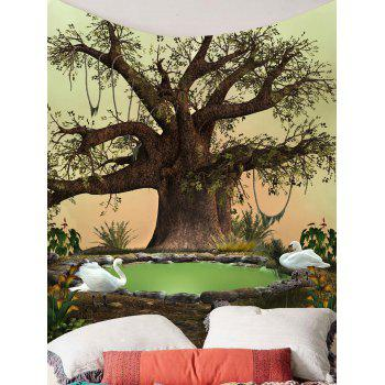 Life Tree Swan Print Wall HangingTapestry - COLORFUL W71 INCH * L71 INCH