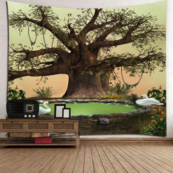 Life Tree Swan Print Wall HangingTapestry - COLORFUL W79 INCH * L71 INCH