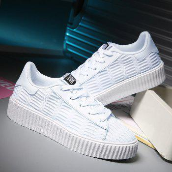 Lace Up Breathable Mesh Athletic Shoes - WHITE WHITE