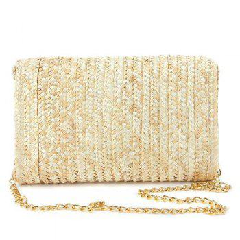Straw Fruit Embroidered Crossbody Bag -  YELLOW