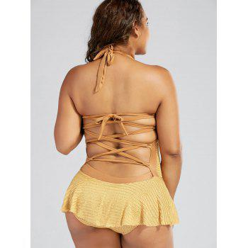 Sexy Halterneck Backless Drawstring Ruffled Lace One-Piece Women's Swimwear - GINGER XL
