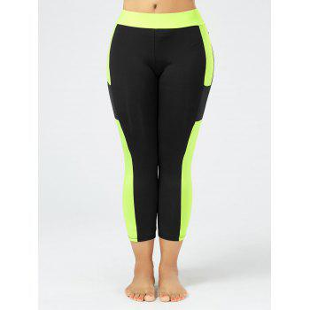 Plus Size Two Tone Workout Leggings with Pockets - BLACK 3XL