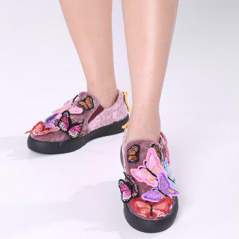 Butterfly Embroidered Slip On Sneakers - PURPLE 37