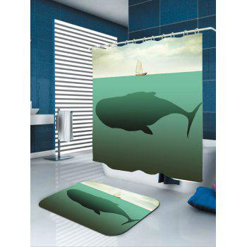 Waterproof Whale Boat Print Shower Curtain - LIGHT BLUE W71 INCH * L79 INCH