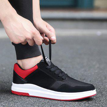 Mesh Breathable Faux Suede Casual Shoes - BLACK RED 40