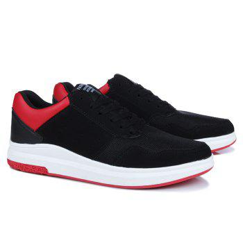 Mesh Breathable Faux Suede Casual Shoes - BLACK RED 42