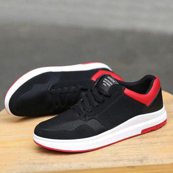 Mesh Breathable Faux Suede Casual Shoes - BLACK RED 44