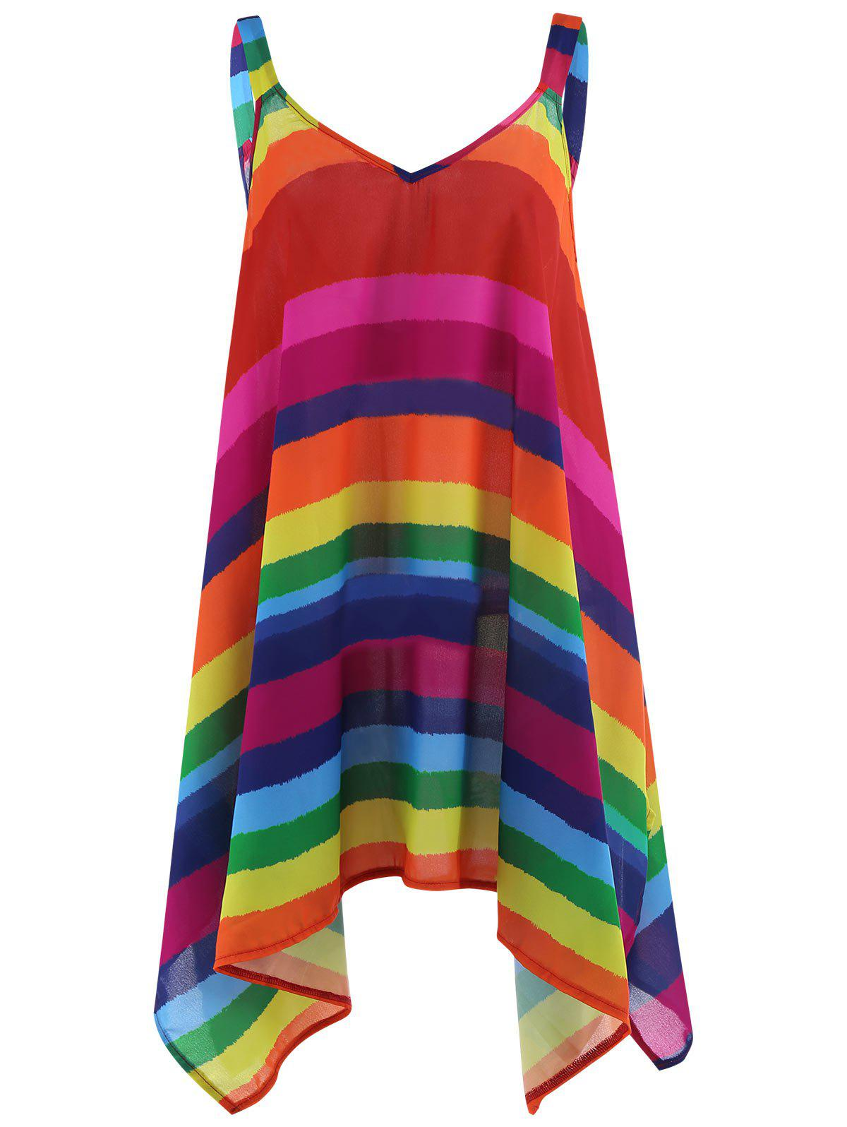 Plus Size Rainbow Stripe Spaghetti Strap Top - multicolorCOLOR 5XL
