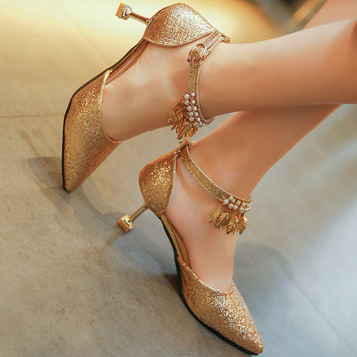 Wedding Beaded Glitter Point Toe Pumps - GOLDEN 38