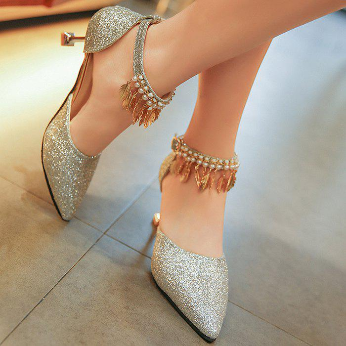 Wedding Beaded Glitter Point Toe Pumps - SILVER 37