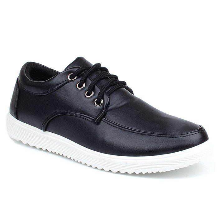 Faux Leather Lace Up Casual Shoes - BLACK 43