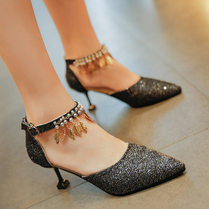 Wedding Beaded Glitter Point Toe Pumps - BLACK 39