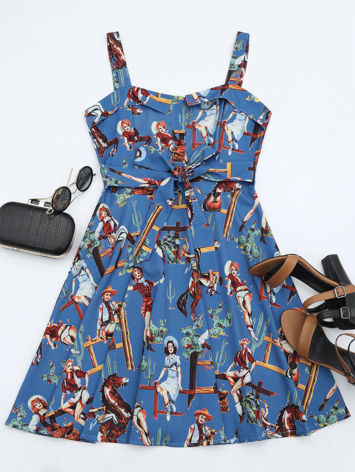 Printed Self-tie A Line Dress - BLUE S