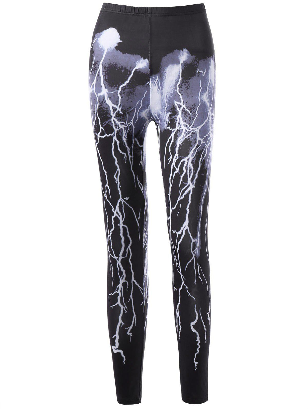 Lightning Print High Waist Leggings - BLACK XL