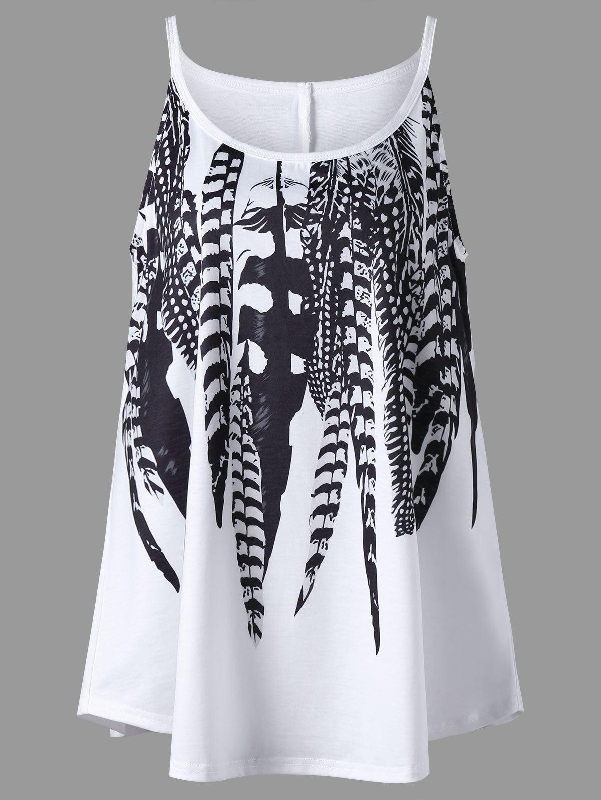 цены Plus Size Feather Print Tank Top