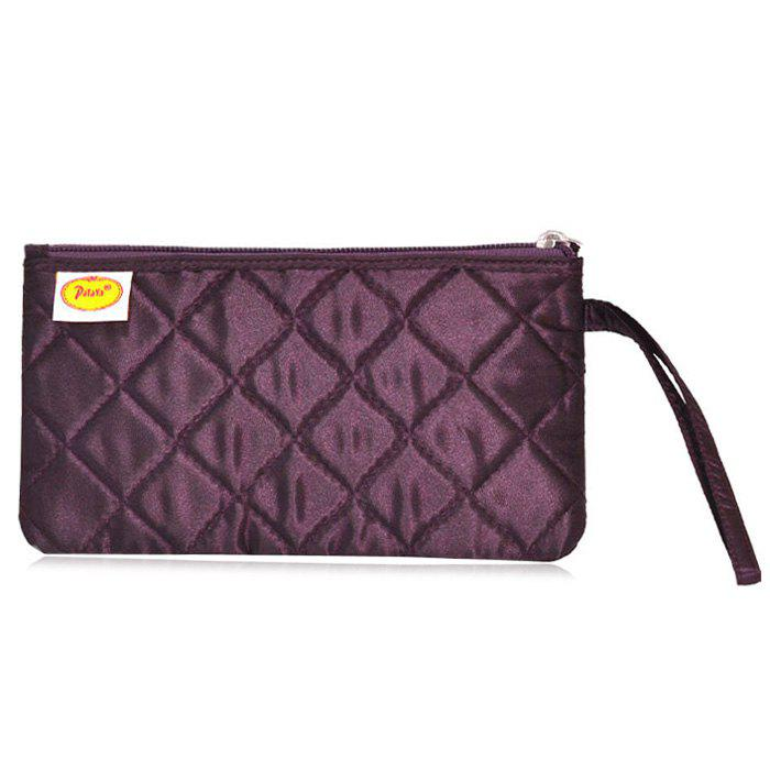 Zip Top Satin Quilted Wristlet - DEEP PURPLE