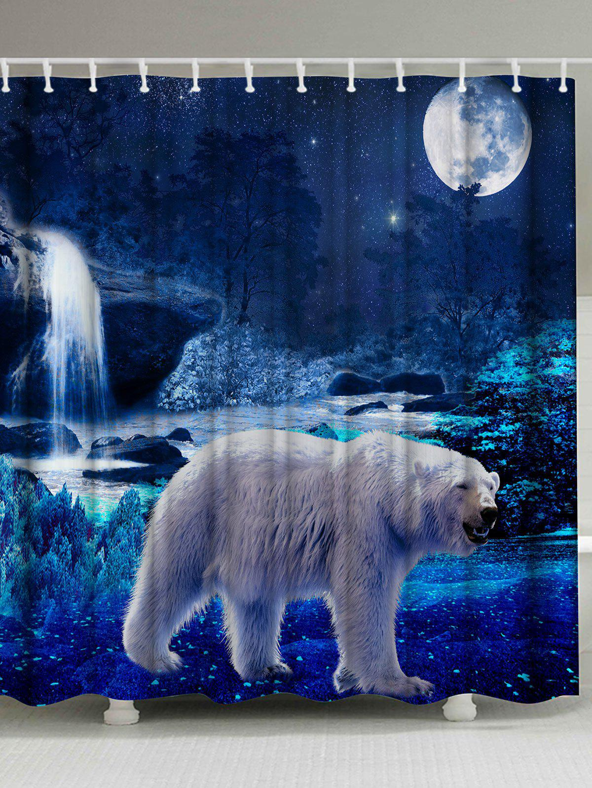 2017 Bear Animal Shower Curtain With Hooks Cerulean W Inch L Inch In Shower Curtains Online