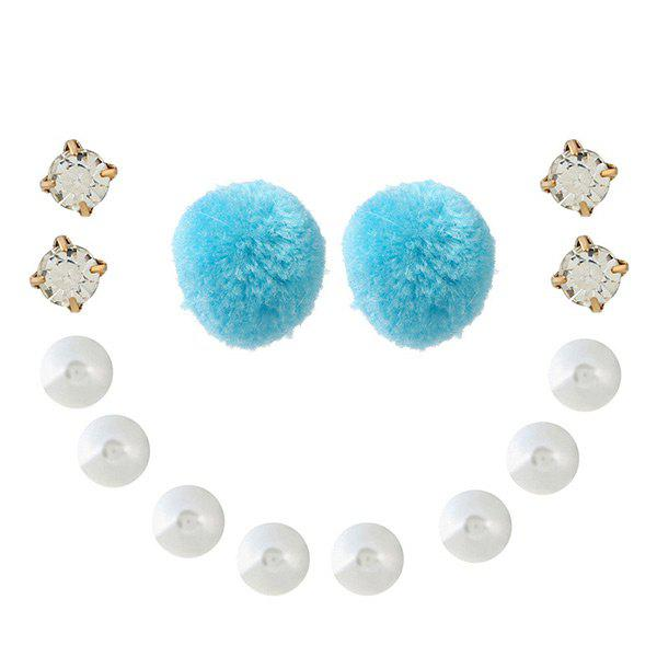 Faux Pearl Rhinestone Fuzzy Ball Earring Set - LAKE BLUE