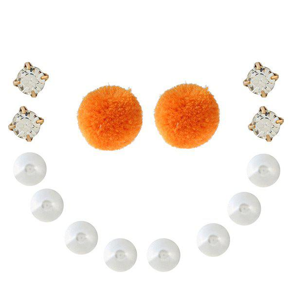 Faux Pearl Rhinestone Fuzzy Ball Earring Set - ORANGE