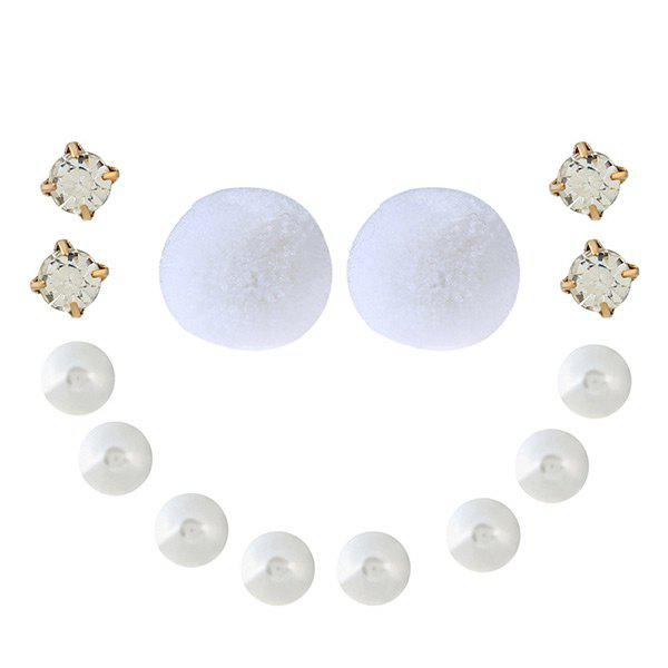 Faux Pearl Rhinestone Fuzzy Ball Earring Set - WHITE