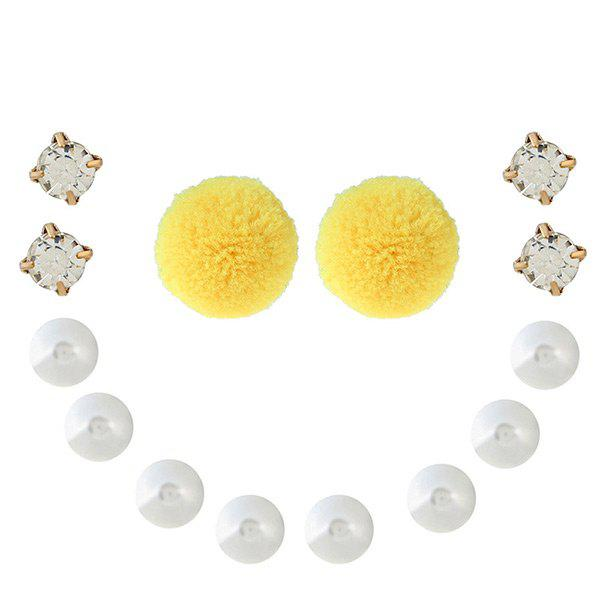 Faux Pearl Rhinestone Fuzzy Ball Earring Set - YELLOW
