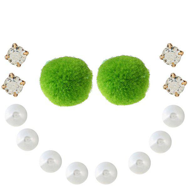 Faux Pearl Rhinestone Fuzzy Ball Earring Set - GREEN