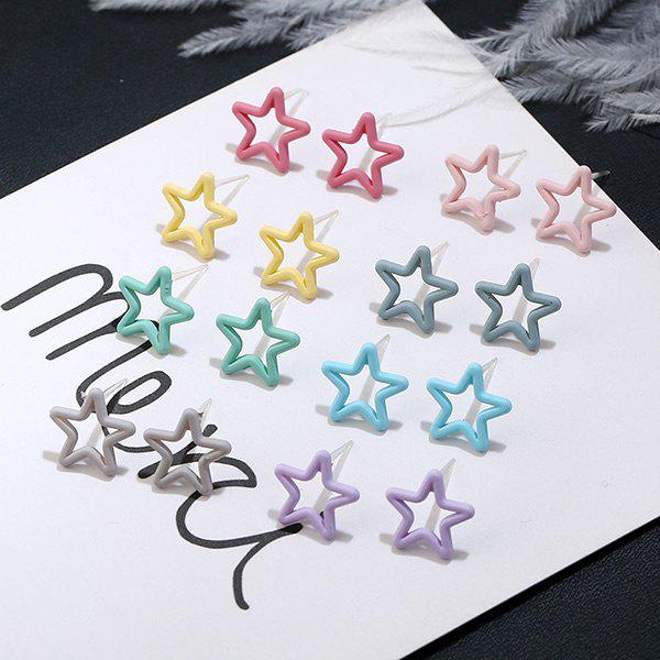 Cute Star Stud Tiny Earring Set - COLORMIX