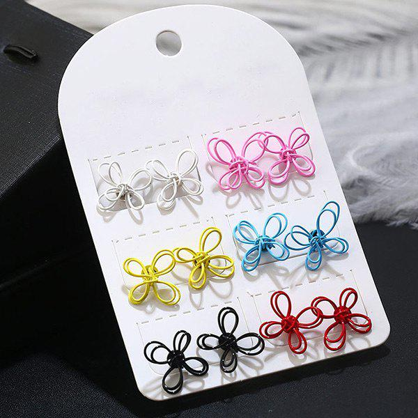 Tiny Chinese Knot Stud Earring Set - COLORMIX