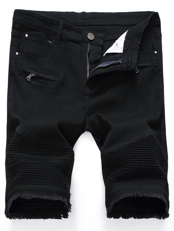 Frayed Hem Zip Detail Biker Denim Shorts - [