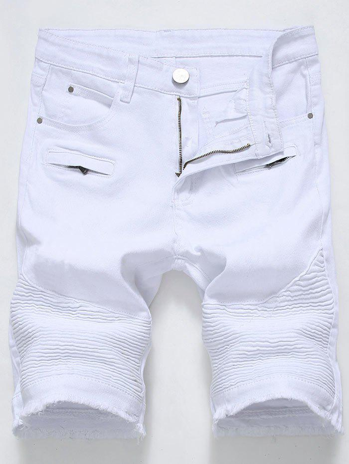 Frayed Hem Zip Detail Biker Denim Shorts - Blanc 33