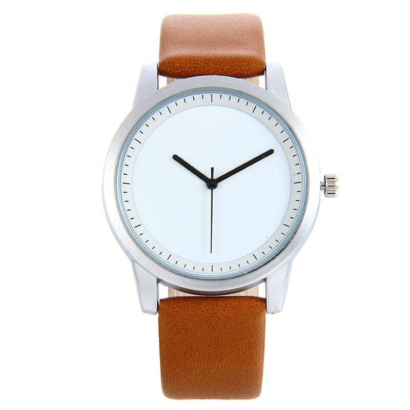 PU Leather Strap Quartz Analog Watch - BROWN