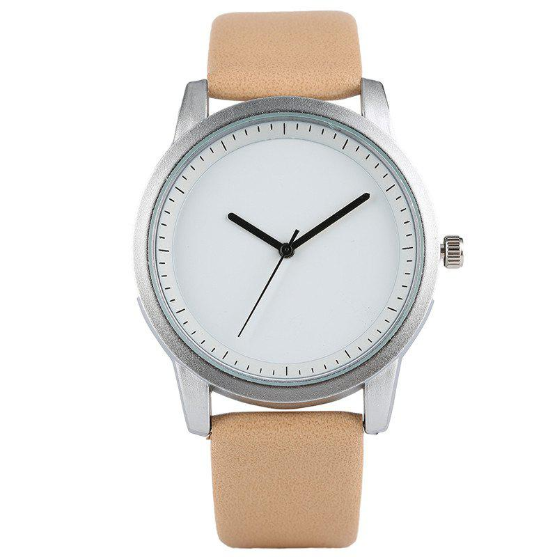 PU Leather Strap Quartz Analog Watch - BEIGE
