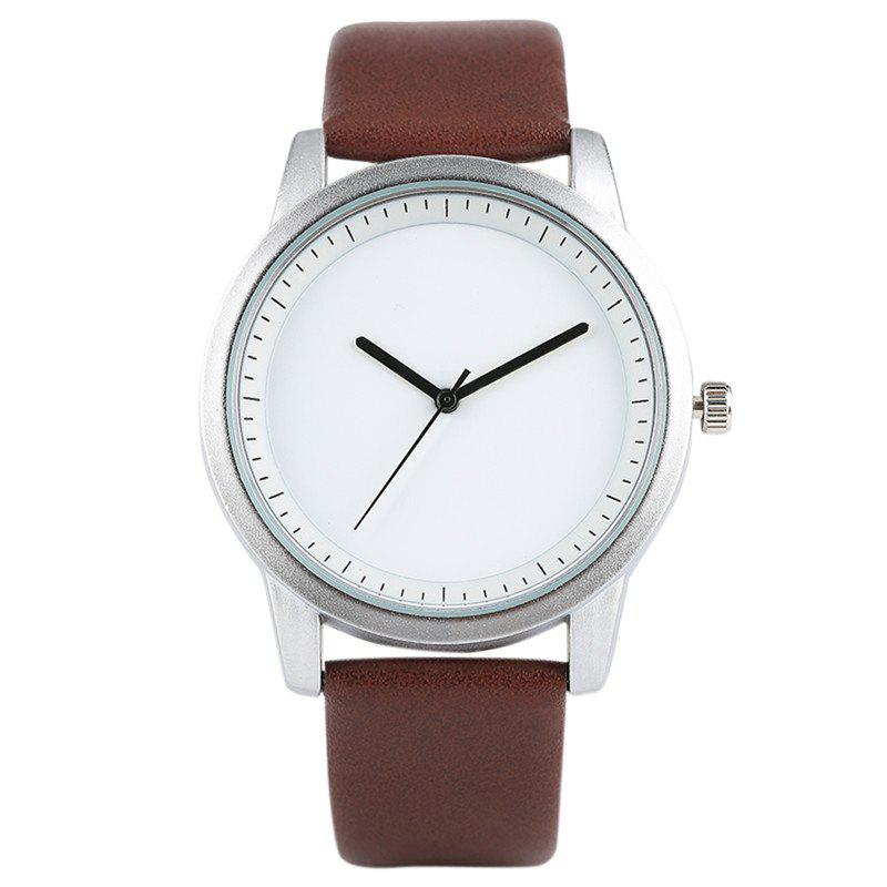 PU Leather Strap Quartz Analog Watch - COFFEE