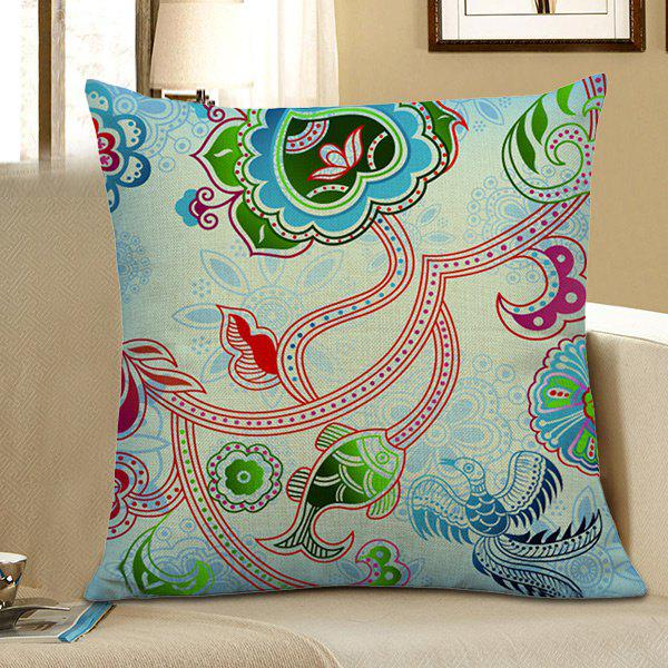 Flower Fish Bird Print Home Decor Pillow Case - LIGHT BLUE 45*45CM
