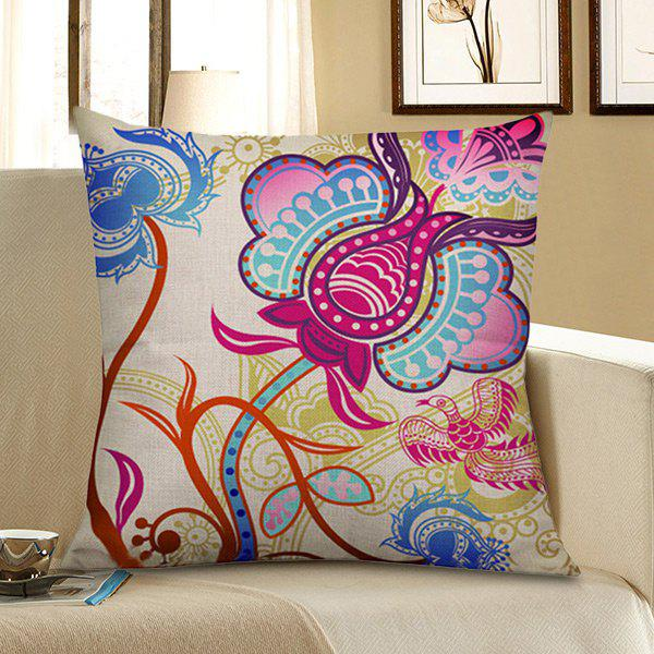 Floral Bird Print Pillow Case - COLORFUL 45*45CM