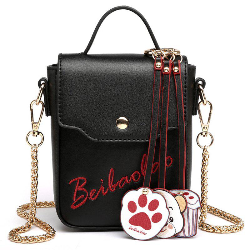 Chain Cartoon Pendants Crossbody Bag - Noir