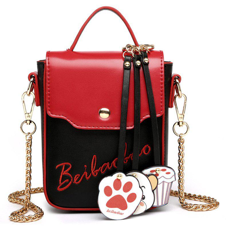 Chain Cartoon Pendants Crossbody Bag - Rouge et Noir