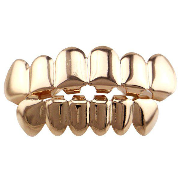Smooth Top Bottom Teeth Hip Hop Grillz Set - ROSE GOLD