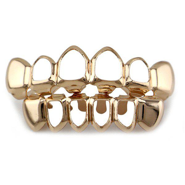 Hollowed Top Bottom Teeth Hip Hop Grillz Set - ROSE GOLD
