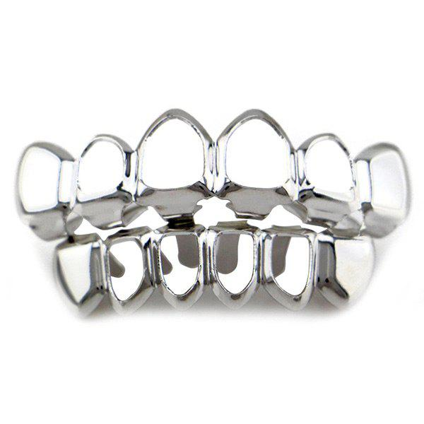 Hollowed Top Bottom Teeth Hip Hop Grillz Set - SILVER