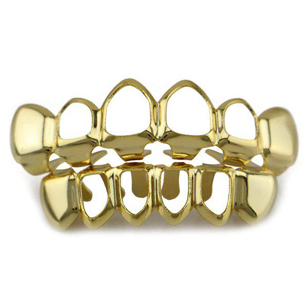 Hollowed Top Bottom Teeth Hip Hop Grillz Set - GOLDEN