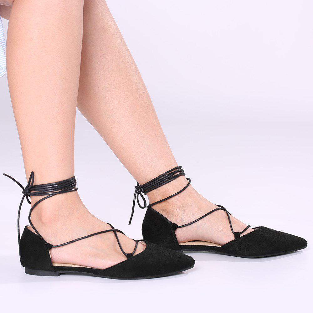Suede Point Toe Lace Up Flats - Noir 39