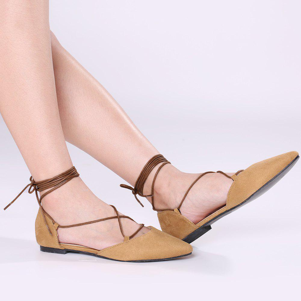 Suede Point Toe Lace Up Flats - BRUN 37