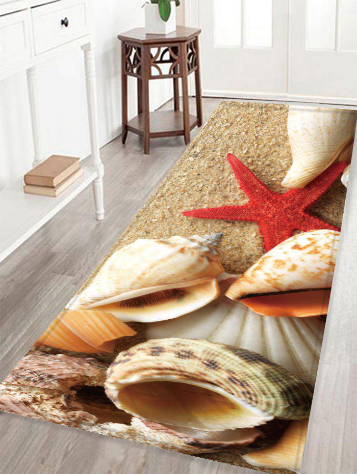 Conch Printed Skidproof Crystal Velvet Fabric Rug - YELLOW W16 INCH * L47 INCH