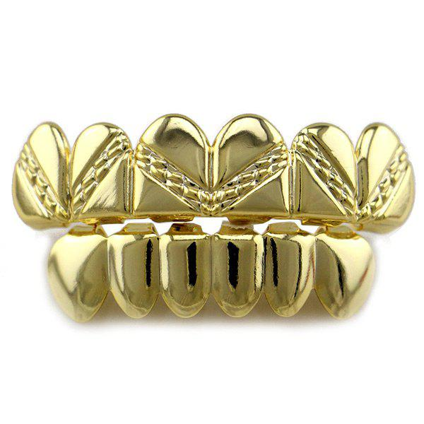 Heart Top Bottom Hip Hop Teeth Grillz Set - GOLDEN